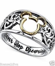 14K GOLD PLT & STERLING SILVER DISNEY MICKEY MOUSE RING 'NEVER STOP DREAMING' 9!