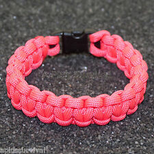 Salmon Pink - 550 lb Type III Paracord Survival Rope Bracelet - Made in the USA