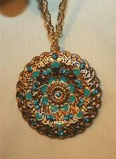 Lovely Woven Goldtone Wheel Teal Heart & Rhinestone Round Pendant Necklace