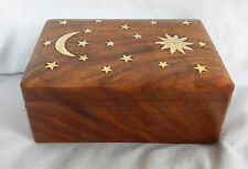 Hand Carved Wooden Secret Slide Lock Box - Brass Sun, Moon & Stars Inlay - BNIB