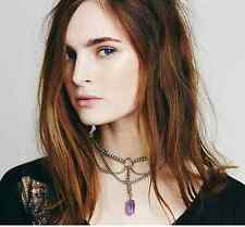 European Fashion Charming Multilayer Silver Chain Nature Stone Pendant Necklace