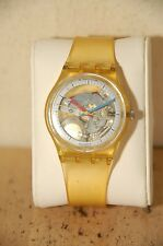 Swatch Quartz Wrist Watch Clear plastic case Jelly Fish AG 1985 GK 100