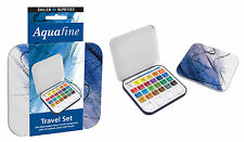 DALER ROWNEY AQUAFINE TRAVEL SET WATERCOLOUR TIN 24 ARTIST PAINTS BRUSH PALETTE