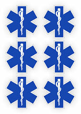 6x Star of Life Hard Hat Stickers   Helmet EMT Decal   Rescue Paramedic (6-pack)