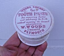 Antique, ceramic,ORIGINAL ca 1905 Woods Chemist's Tooth Paste jar box pot lid