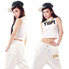 Wholesale Women Men's Sequin Loose Harem Pants Hip-hop Dance Trousers Crop Tops