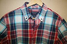 Mens American Eagle pocket plaid short sleeve summer shirt Vintage Fit SMALL s