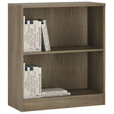 Ferrer Modern Oak Effect Low Wide Bookcase in Grey - Living Room Furniture