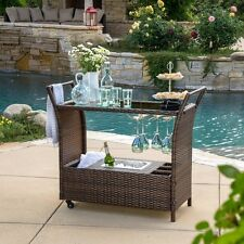 BROWN Portable OUTDOOR BAR CART Ice Bucket Pool Deck Wicker Furniture Party NEW