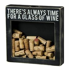 Wine Cork Display Box Sign Wood Vintage Primitives By Kathy Black Farmhouse NWT