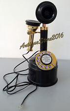VINTAGE LOOK SOLID BRASS CANDLE STICK TELEPHONE WORKING BLACK CHRISTMAS GIFT