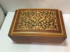 Vintage Italy Wood Marquetry Inlay Music Jewelry Box Reuge Movement Lara's Theme