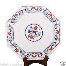 """14""""x14"""" White Marble Center Coffee Table Top Mosaic Lapis Inlaid Marquetry H1985"""
