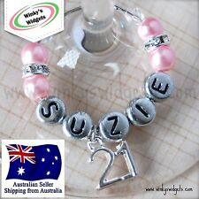 Deluxe 21st Birthday Wine Glass Charm - Personalised/Any name Party Gift Ideas