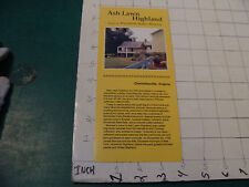 vintage travel brochure:1993 ASH LAWN HIGHLAND james monroe