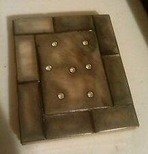 VINTAGE Gray Mother of Pearl w/ Rhinestones Make up Compact Mirror