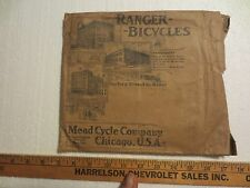 RANGER BICYCLES MEAD CYCLE CO. CHICAGO ORIGINAL MAILING ENVELOPE CIRCA 1920S