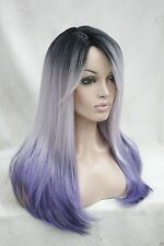 New Ombre Black Root With White and Purple Mix Top Quality Straight Long Wig
