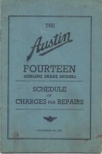Austin Fourteen 14 (Girling) original Repair Charges 7/37 Pub 1567 unillustrated