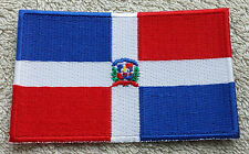 DOMINICAN REPUBLIC FLAG PATCH Embroidered Badge Iron Sew 6cm x 9cm Caribbean