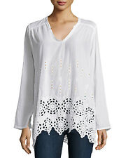 $246 JOHNNY WAS SHIRRED YOKE WHITE CUTOUT LACE TUNIC TOP COTTON SZ XL 1X NWT