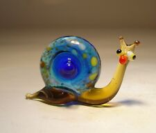 """Blown Glass """"Murano"""" Art Figurine Small Insect Blue SNAIL"""