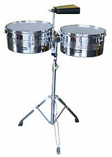 """NEW De Rosa 13"""" 14"""" TIMBALE KIT with Durable Stand and Cowbell"""