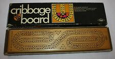 Vintage 1968 ES Lowe Cribbage Board #1505 in Original Box - Solid Hardwood