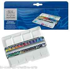 WINSOR & NEWTON COTMAN ARTIST WATER COLOUR METAL SKETCHERS BOX 24 HALF PAN SET