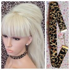 LEOPARD ANIMAL PRINT COTTON FABRIC CHOKER NECKLACE 2cm WIDE METAL CHAIN RETRO