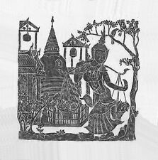 "Thai Temple Rubbing - Black - Temple Scene - 24"" x 24""         -          2437BL"