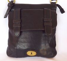FOSSIL Black Leather Crossbody Organizer Shoulder Bag Purse Handbag