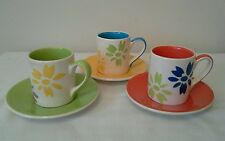 3 x Demi Tasse Coffee Cups and Saucers by Whittards of Chelsea ' Daisy ' Pattern