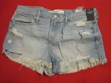 Abercrombie & Fitch Shorts Sz 8 Mini Denim Destroyed Light Wash Jeans Cotton