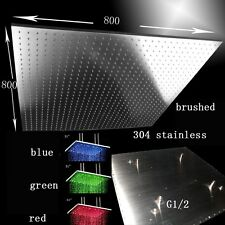 "31"" LED Multicolor Ceiling Mount Showerhead, Brushed Stainless Steel - Square"