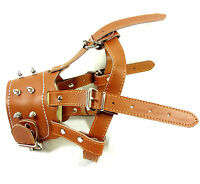 German Shepherd Secure Brown Leather Spiked Dog Muzzle Adjustable PitBull