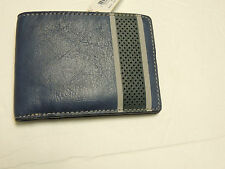 FOSSIL DUVALL INTERNATIONAL BIFOLD in blue leather NWT