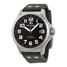 TW Steel Mens 45mm Pilot Quartz Black Dial Black Strap Red Stitching Watch TW410