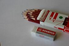 12 x STABILO BLACKLEAD PENCILS with FREE ERASER - FREE UK P+P - 1 ONLY !!!