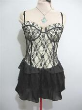 """Evening Cocktail """"NWT"""" DRESS Size 12 Black Gold Lace Party Lace LUCY IN THE SKY"""