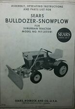 Sears BullDozer PLOW Implement Garden Tractor Owner & Parts Manual 8p 917.251381