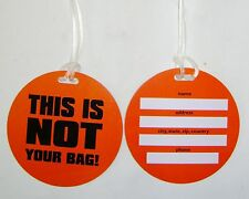 NEW SET 2 NEON LUGGAGE TAGS ID LABELS THIS IS NOT YOUR BAG! ORANGE PMS