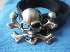3D SKULL AND CROSSBONES JOLLY ROGER FLAG PIRATE FANCY DRESS BUCKLE LEATHER BELT