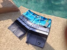 QUICKSILVER BEACHWEAR MENS BLUE GRAY STRIPE BOARDSHORTS TRUNKS - Waist 36