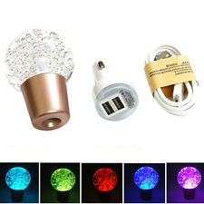 Multi-Color LED Crystal Bubble Manual Cars Gear Shift Knob Handle Stick Shifter