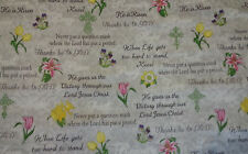 """0336  Easter Flowers Words and Sayings 100% Cotton Fabric 44"""" W BTY"""