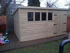 GARDEN SHED HEAVY DUTY TANALISED 14X8 PENT 13MM T&G. 3X2.