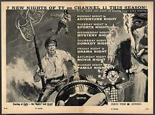 1958 WPIX NEW YORK TV AD~7 NEW NIGHTS OF TV ON CHANNEL 11 THIS SEASON