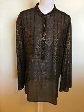 CHICOS Black Sheer Tunic Gold Floral Pintuck Top Blouse 100% Silk Size 3