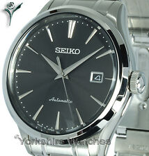 New SEIKO SUPERIOR AUTOMATIC BLACK FACE WITH STAINLESS STEEL BRACELET SRP703J1